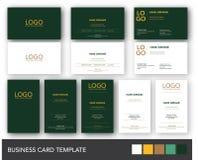 Dunkelgrünes und gelbes Goldvisitenkarte-Schablone Lizenzfreie Stockfotografie