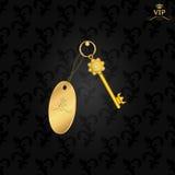 Dunkelgrauer Hintergrund in einer Weinleseart mit einem goldenen Schlüssel und einem brelkomi Lizenzfreie Stockbilder