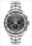 Dunkelgraues Skaladesign des realistischen Uhruhrchronographen für Mannmode auf weißem Hintergrundvektor Stockfotos