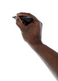 Dunkelhäutige skecthing Hand lizenzfreie stockfotos
