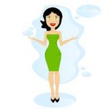 Dunkelhaarige Frau in einem grünen Kleid sagt Willkommen Flaches Design der Karikatur Stockbilder