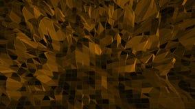 Dunkelorangefarbige niedrige wellenartig bewegende Polyoberfläche als Zauberlandschaft Dunkelorangefarbige polygonale geometrisch stock abbildung
