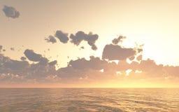 Dunkelorangefarbiger heller bunter Hintergrund der Sonnenuntergang- oder Sonnenaufgangmeereswellen Stockfoto