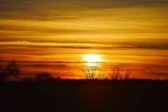 Dunkelorangefarbiger Himmel Stockbild