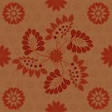 Dunkelrotes Kastanienbraun des indischen nahtlosen Musters auf kupfernem Hintergrund lizenzfreie abbildung