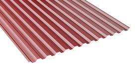 Dunkelrotes Metall runzelte Dachblattstapel - Vorderansicht lizenzfreie abbildung