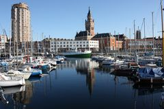 Dunkerque downtown from harbour Royalty Free Stock Photo
