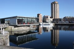 Dunkerque downtown from harbour Royalty Free Stock Photography