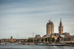 Old port with three towers of Dunkirk, France.