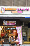 Dunkin油炸圈饼商店在瑞士 免版税库存图片