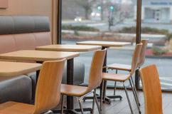 Dunkin donuts restaurant chairs Stock Image