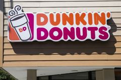 Dunkin Donuts store. Detail of the Dunkin Donuts store in New York. It is an American global donut company and coffeehouse founded at 1950 royalty free stock photo