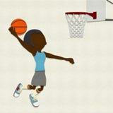 Dunking do jogador de basquetebol de feltro Fotografia de Stock Royalty Free