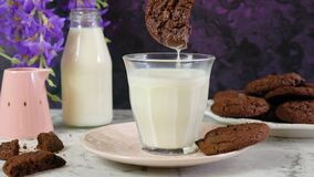 Dunking one double chocolate chip homemade cookie in glass of milk.