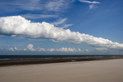 Dunkirk Beach, France. Fluffy white clouds over Dunkirk beach, France Stock Photos