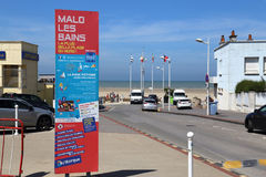Dunkirk beach in France. Dunkirk, France - May 31, 2017: Information board at the Malo les Bains beach resort of Dunkirk, France on May 31, 2017 Royalty Free Stock Photo