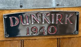 A Dunkirk Boat Plaque. Dunkirk Boat Plaque royalty free stock photo