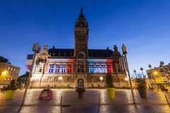 Dunkirk City Hall. At night. Dunkirk, Hauts-de-France, France royalty free stock photo