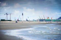 Dunkirk den breda stranden som är berömd för Frankrike bästa bekant för den brittiska evakueringen under världskriget II Nord Pas Royaltyfri Foto