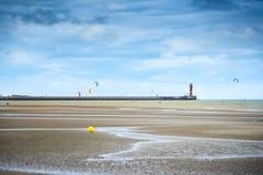 Dunkirk den breda stranden som är berömd för Frankrike bästa bekant för den brittiska evakueringen under världskriget II Nord Pas Arkivfoto