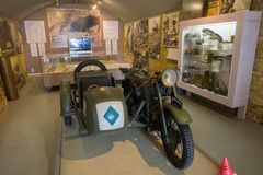 The Dunkirk Museum 1940 exhibits the Battle of Dunkirk. DUNKIRK, FRANCE – june 1, 2015 : in Dunkirk Museum 1940, Scale models of the sites of the operation Royalty Free Stock Photo