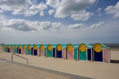 Peaceful beach of Dunkirk, in France. Place of the Dynamo operation in 1940. DUNKIRK, FRANCE – june 1, 2015 : It was on this peaceful beach that the Dynamo Royalty Free Stock Images