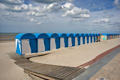 Peaceful beach of Dunkirk, in France. Place of the Dynamo operation in 1940. DUNKIRK, FRANCE – june 1, 2015 : It was on this peaceful beach that the Dynamo Stock Images