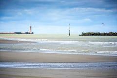 Dunkirk, het brede strand beroemd voor Frankrijk bekendst voor de Britse evacuatie tijdens de Wereldoorlog II Nord Pas-de-Calais, royalty-vrije stock foto's