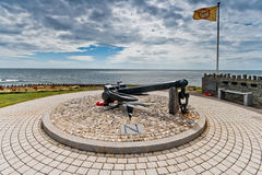 Dunkirk Memorial at Port St. Mary in the Isle of Man. The anchor of the ship Mona's Queen III lost in the rescue operation at Dunkirk during WWII, now part of a Royalty Free Stock Image