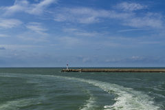 Dunkirk – modern day entrance to harbour. Royalty Free Stock Photography