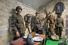 The Dunkirk Museum 1940 exhibits the Battle of Dunkirk. DUNKIRK, FRANCE – june 1, 2015 : in Dunkirk Museum 1940, Scale models of the sites of the operation Stock Images