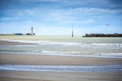 Dunkirk, the wide beach famous for France best known for the British evacuation during the World War II. Nord Pas de Calais, Franc. Famous episode of the Royalty Free Stock Photos