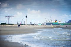 Dunkirk, the wide beach famous for France best known for the British evacuation during the World War II. Nord Pas de Calais, Franc. Famous episode of the Royalty Free Stock Photo