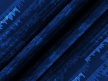 Dunkle Aufbauten mit blauen Texten in der schwarzen Tiefe Stockbilder