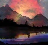 Dunkle Berglandschaft mit See, Bäumen und Strömen des Regens Lizenzfreie Stockfotografie
