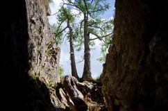 Dunkle Felsen und blauer Himmel Stockfotografie