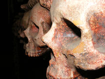 Dunkle furchtsame Schädel im dunklen Hintergrund lizenzfreies stockbild