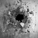 Dunkle gebrochene gebrochene Wand in der Betonmauer Kann als Postkarte verwendet werden lizenzfreie abbildung