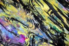 Dunkle gelbe schwarze Wellen spritzt, bunte klare wächserne Farben, kreativer Hintergrund der Kontraste Lizenzfreies Stockbild
