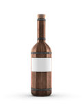 Dunkle hölzerne Weinflasche Lizenzfreies Stockfoto