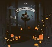 Dunkle Illustration Vektorfahnenhalloween-Partei mit Geist im dunklen Waldmondlicht und in den gelben Kerzen E stockfotos