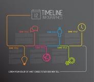 Dunkle Infographic-Zeitachse-Berichtsschablone mit Linien Lizenzfreies Stockfoto