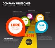 Dunkle Infographic-Zeitachse-Schablone mit Zeigern Lizenzfreies Stockbild