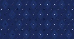 dunkle karierte Animation des Blaus der Marine 4k mit goldener Strichlinie stock video footage