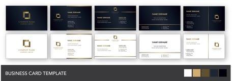 Dunkle Marine-und Goldvisitenkarte-Schablone Lizenzfreies Stockbild