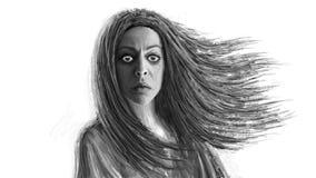 Dunkle Medizinmannfrau mit dem flüssigen Haar stockfotos