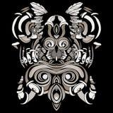 Dunkle Muster im Stil der Medizinmänner mit Federn und Blättern Stockbilder
