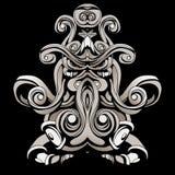 Dunkle Muster im Stil der Medizinmänner mit Federn und Blättern Stockfoto