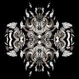 Dunkle Muster im Stil der Medizinmänner mit Federn und Blättern Stockfotografie