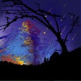Dunkle Nachtlandschaft mit Schattenbildern von Bäumen, von Wolken und von fallenden Meteoriten stock abbildung